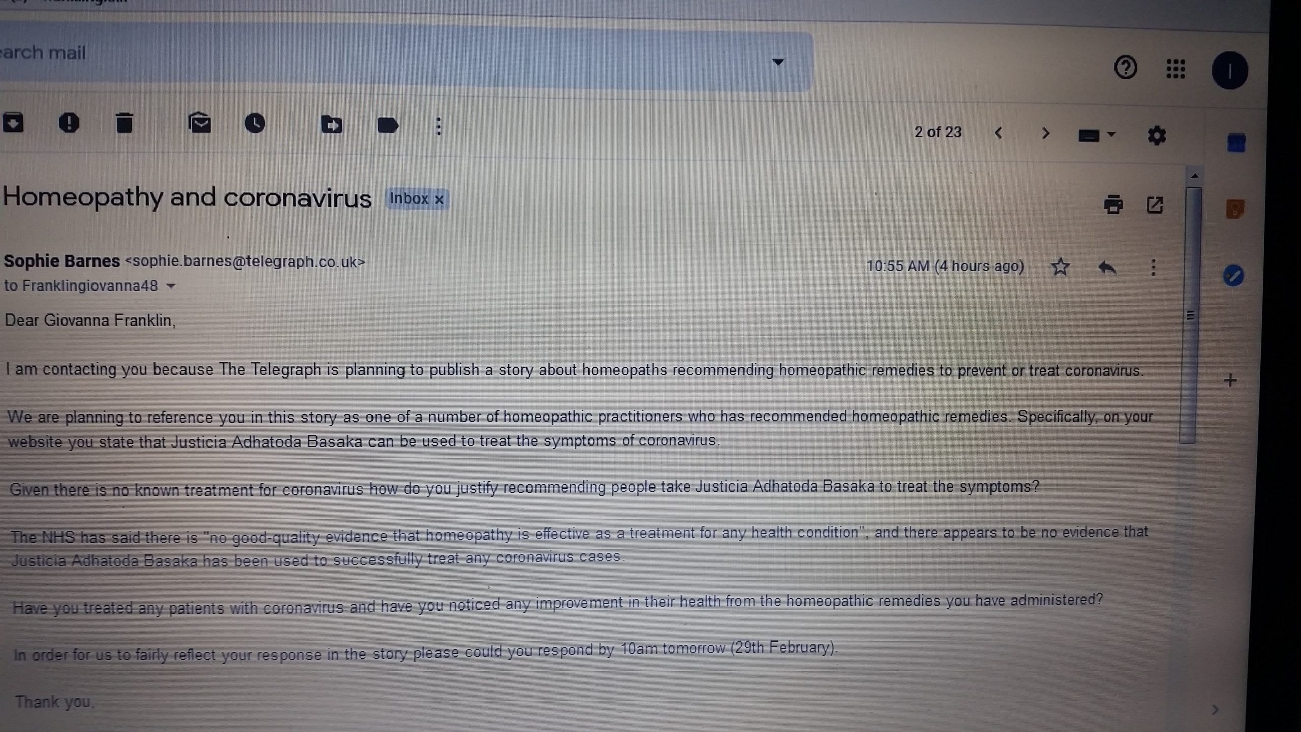 email from the press